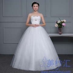 米白色精美小钻新款新娘嫁衣齐地婚纱C101001D037 图片色 均码