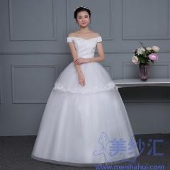 米白色一字肩精美蕾丝花纹图案齐地婚纱C101001D038 图片色 均码