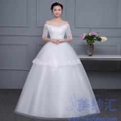 米白色一字肩中袖版精美花纹图案婚纱C101001D041 图片色 均码