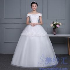 米白色一字肩精美花纹图案齐地婚纱C101001D042 图片色 均码