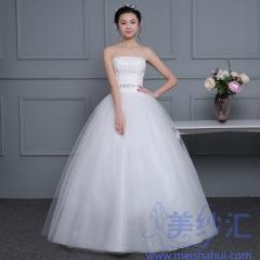 米白色抹胸精美小串珠亮片齐地婚纱C101001D043 图片色 均码