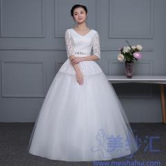 V领中袖米白色精美图案新娘结婚当天嫁衣齐地101001D045 图片色 均码