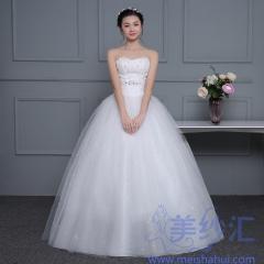 米白色抹胸版齐地婚纱C101001D046 图片色 均码