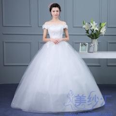 米白色一字肩精美花纹图案嫁衣齐地婚纱C101001D003 图片色 均码