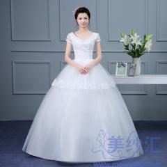 米白色包肩V领齐地婚纱C101001D004 图片色 均码