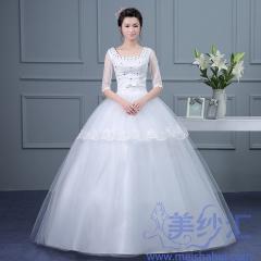 米白色U型领中袖版精美齐地婚纱显瘦唯美C101001D005 图片色 均码