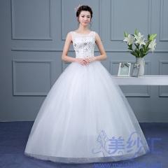米白色双肩精美花纹图案齐地婚纱C101001D006 图片色 均码