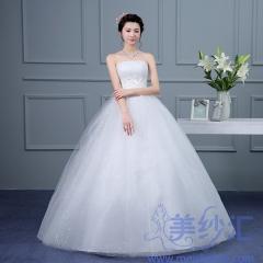 米白色抹胸版齐地婚纱C101001D010 图片色 均码