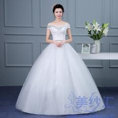 米白色一字肩齐地婚纱C101001D012 图片色 均码