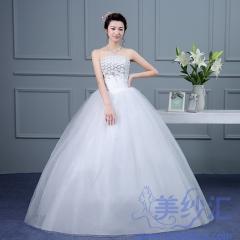 新版抹胸款齐地婚纱新娘结婚当天嫁衣C101001D014 图片色 均码