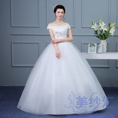 新版一字肩款齐地婚纱C101001D016 图片色 均码