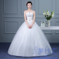 新版抹胸款款齐地婚纱新娘结婚当天嫁衣101001D020 图片色 均码