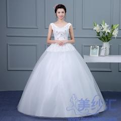 新版双肩蕾丝款齐地婚纱C101001D022 图片色 均码