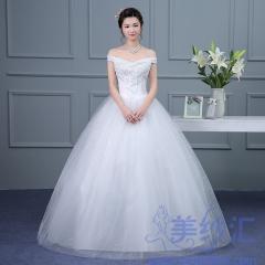新版一字肩款齐地婚纱新娘结婚当天嫁衣101001D023 图片色 均码