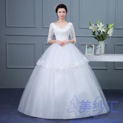 米白色中袖齐地婚纱C101001D028 图片色 均码