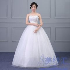 新版抹胸款齐地婚纱新娘结婚当天嫁衣绑带款101001D019 图片色 均码