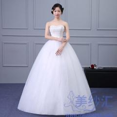 抹胸款齐地婚纱绑带款C101001D027 图片色 均码