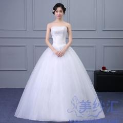 抹胸款齐地婚纱新娘嫁衣绑带款唯美显瘦101001D029 图片色 均码