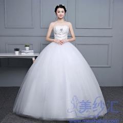 显瘦抹胸款齐地绑带款婚纱C101001D051 图片色 均码