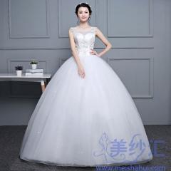 新娘结婚嫁衣齐地婚纱双肩绑带款101001D052 图片色 均码