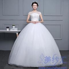 新娘结婚嫁衣包肩绑带款齐地婚纱101001D053 图片色 均码