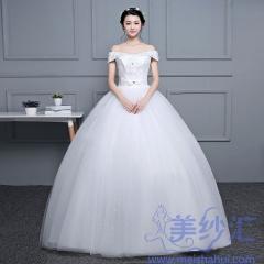 一字肩新娘结婚当天嫁衣齐地婚纱101001D054 图片色 均码