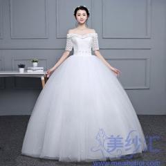 一字肩中袖版齐地婚纱C101001D060 图片色 均码