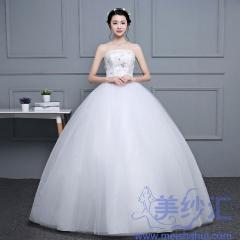 抹胸版新娘结婚当天嫁衣齐地婚纱101001D064 图片色 均码