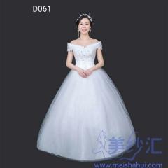 一字肩精美花纹图案齐地婚纱新娘结婚嫁衣101001D061 图片色 均码