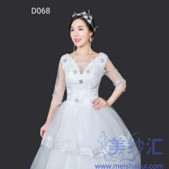 米白色双肩版绑带款齐地婚纱精美贴花C101001D068 图片色 均码