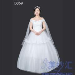 米白色一字肩齐地婚纱绑带款飘纱101001D069 图片色 均码