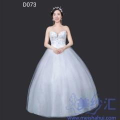 抹胸版米白色绑带齐地婚纱C101001D073 图片色 均码