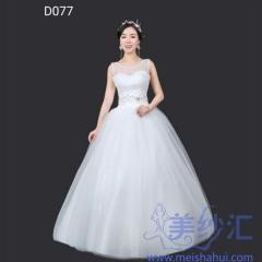 双肩米白色绑带齐地婚纱C101001D077 图片色 均码