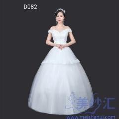 一字肩绑带款齐地婚纱C101001D082 图片色 均码