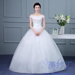 一字肩绑带款齐地婚纱C101001D013 图片色 均码