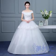 米白色一字肩齐地婚纱C101001D001 图片色 均码