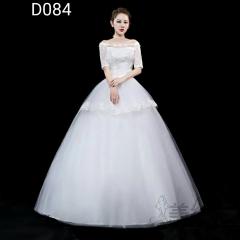 中袖一字肩新娘结婚当天嫁衣齐地婚纱绑带款101001D084 图片色 均码