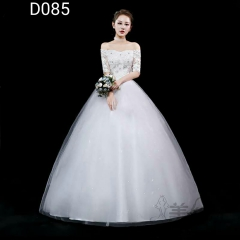 米白色一字肩中袖新娘齐地婚纱嫁衣绑带款101001D085 图片色 均码