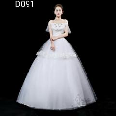 新版一字肩绑带齐地婚纱C101001D091 图片色 均码