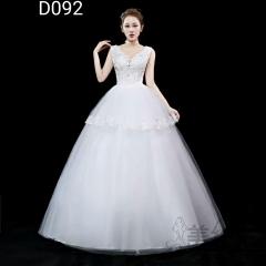 双肩V领齐地婚纱新娘结婚当天嫁衣绑带款101001D092 图片色 均码