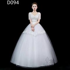 米白色包肩V领绑带款齐地婚纱C101001D094 图片色 均码