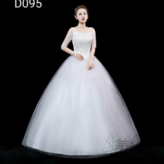 米白色一字肩精美花纹图案齐地婚纱C101001D095 图片色 均码