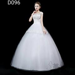 米白色包肩圆领绑带齐地婚纱C101001D096 图片色 均码