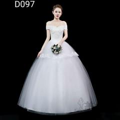 米白色一字肩精美花纹图案嫁衣齐地婚纱101001D097 图片色 均码