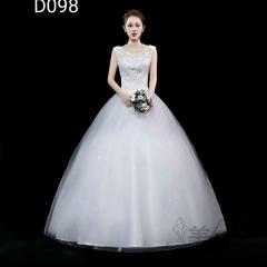 米白色双肩圆领绑带齐地婚纱C101001D098 图片色 均码