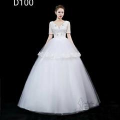 短袖V领新款齐地婚纱新娘结婚当天嫁衣101001D100 图片色 均码