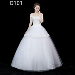 中袖一字肩款齐地婚纱新娘结婚当天嫁衣绑带款101001D101 图片色 均码
