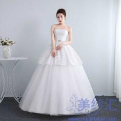 新娘结婚公主抹胸齐地韩式蕾丝冬季显瘦修身女1011201808 图片色 均码