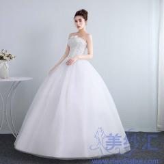 抹胸婚纱礼服冬季欧式新娘结婚公主齐地简约修身女1011201809 图片色 均码