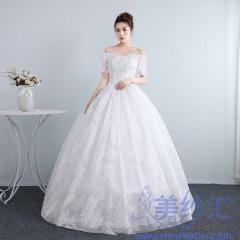 公主一字肩中袖齐地韩式蕾丝夏季显瘦修身女10112001810 图片色 均码